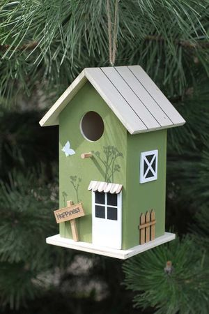 """Vogelhaus """"Happiness"""" Shabby Landhaus Deko- Nistkasten, helles Holz- Dach – Bild 1"""
