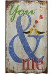 Schild You & me Shabby Vintage Türschild Wandbild gewellt