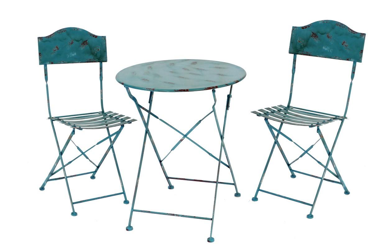 Landhaus Sitzgarnitur Metall 1 Tisch 2 Stühle Gartengarnitur Set blau