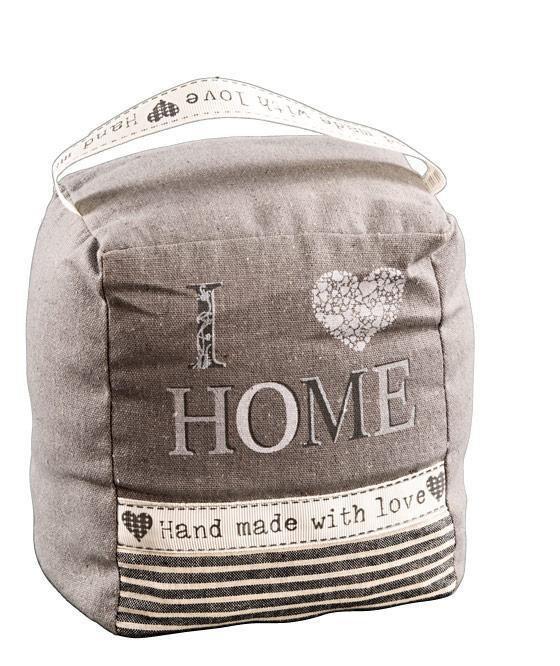 stoff t rstopper i love home shabby landhaus festerstopper grau. Black Bedroom Furniture Sets. Home Design Ideas