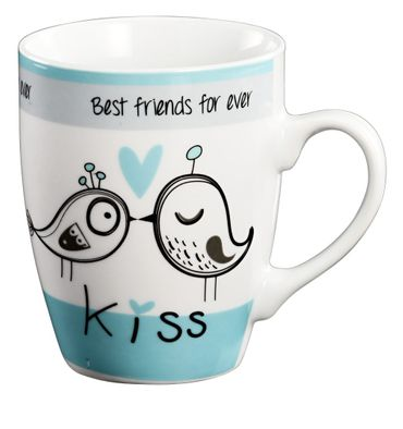Tasse - Friends for ever-  Kaffeetasse Teetasse Keramik in türkis/weiß