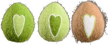 Filz-Ei mit Herz-Aufdruck in grün/natur, 3er Set