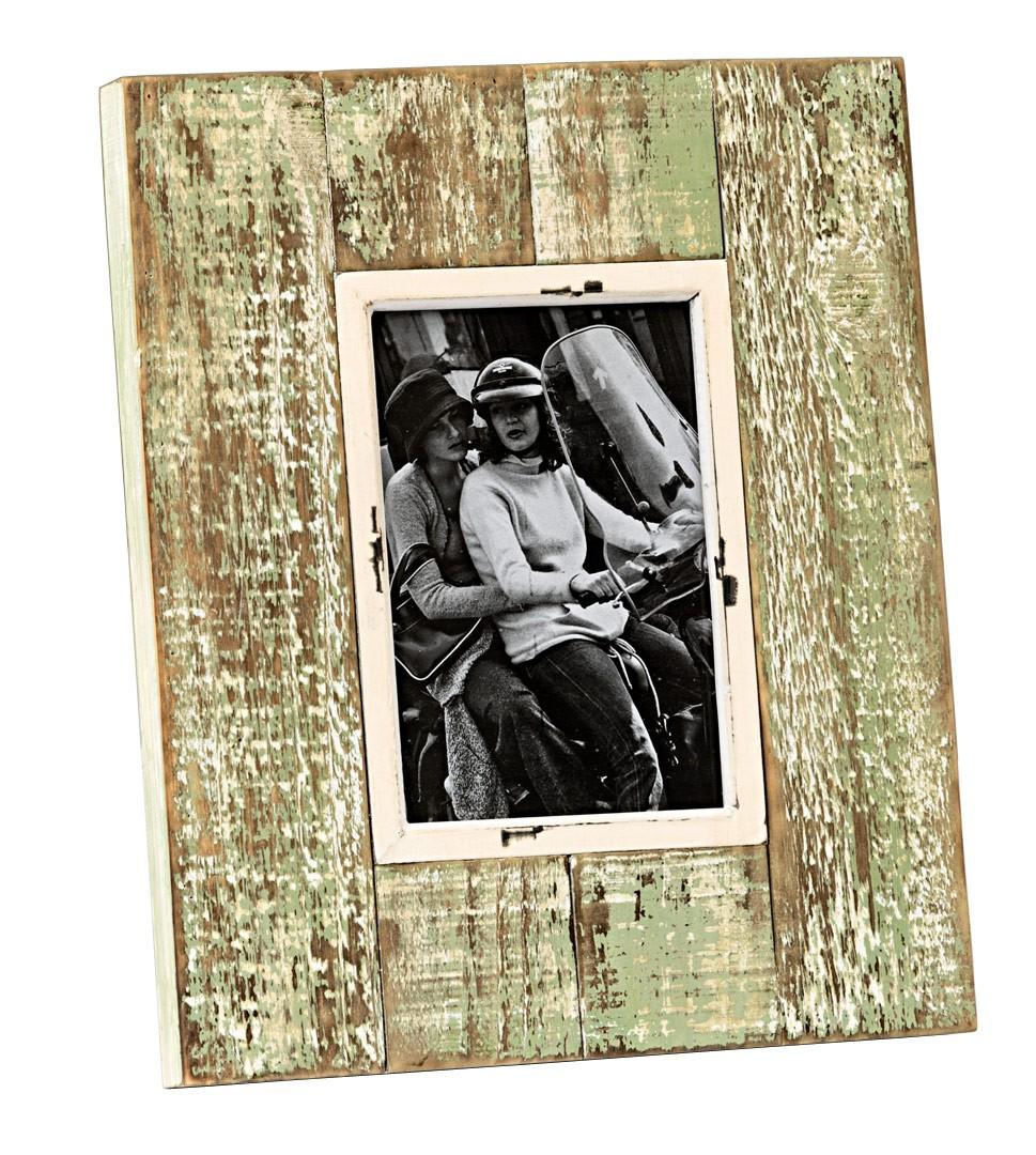 bilderrahmen shabby vintage fotorahmen aus holz in natur gr n. Black Bedroom Furniture Sets. Home Design Ideas