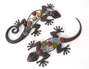 Wanddekoration echse salamander aus metall - Wanddeko eidechse ...