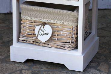 Schrank - Cabinett - mit Schublade in weiß Shabby Landhaus Kommode – Bild 2