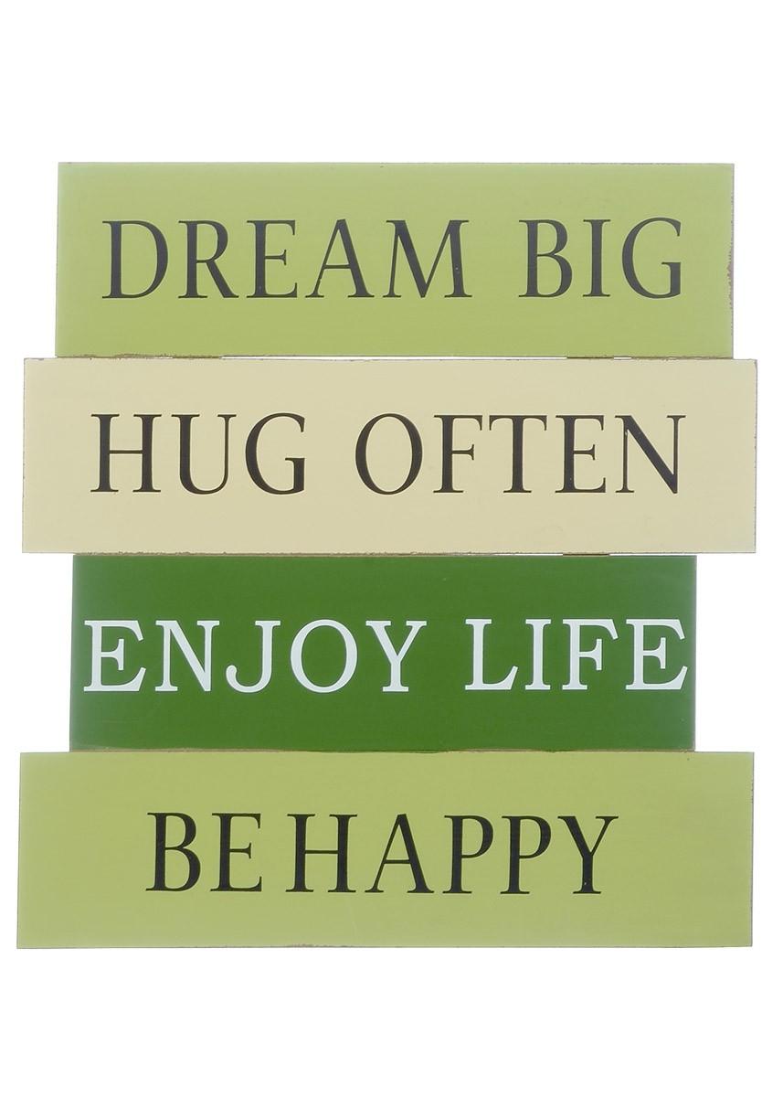 wandbild dream big be happy shabby chic schild holzschild in gr n. Black Bedroom Furniture Sets. Home Design Ideas