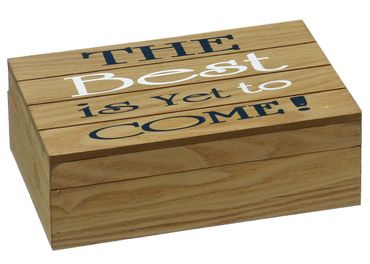 "Holzbox ""The best.. come"" Shabby Chic Holzkiste mit Aufdruck in braun L22cm"