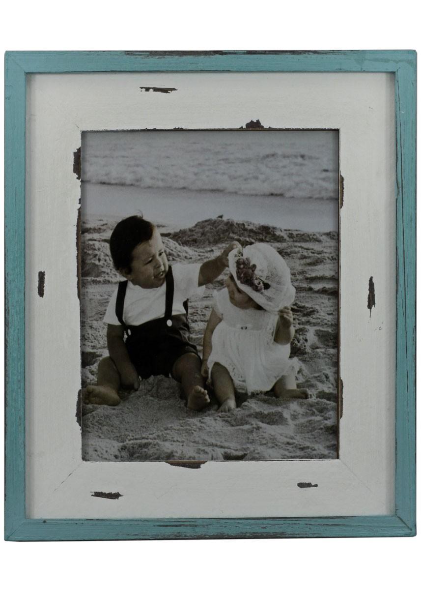 Fotorahmen Shabby Chic Holz Bilderrahmen 31x36cm Petrol Weiß Pastell Condecoro Wohnideen U Geschenkideen