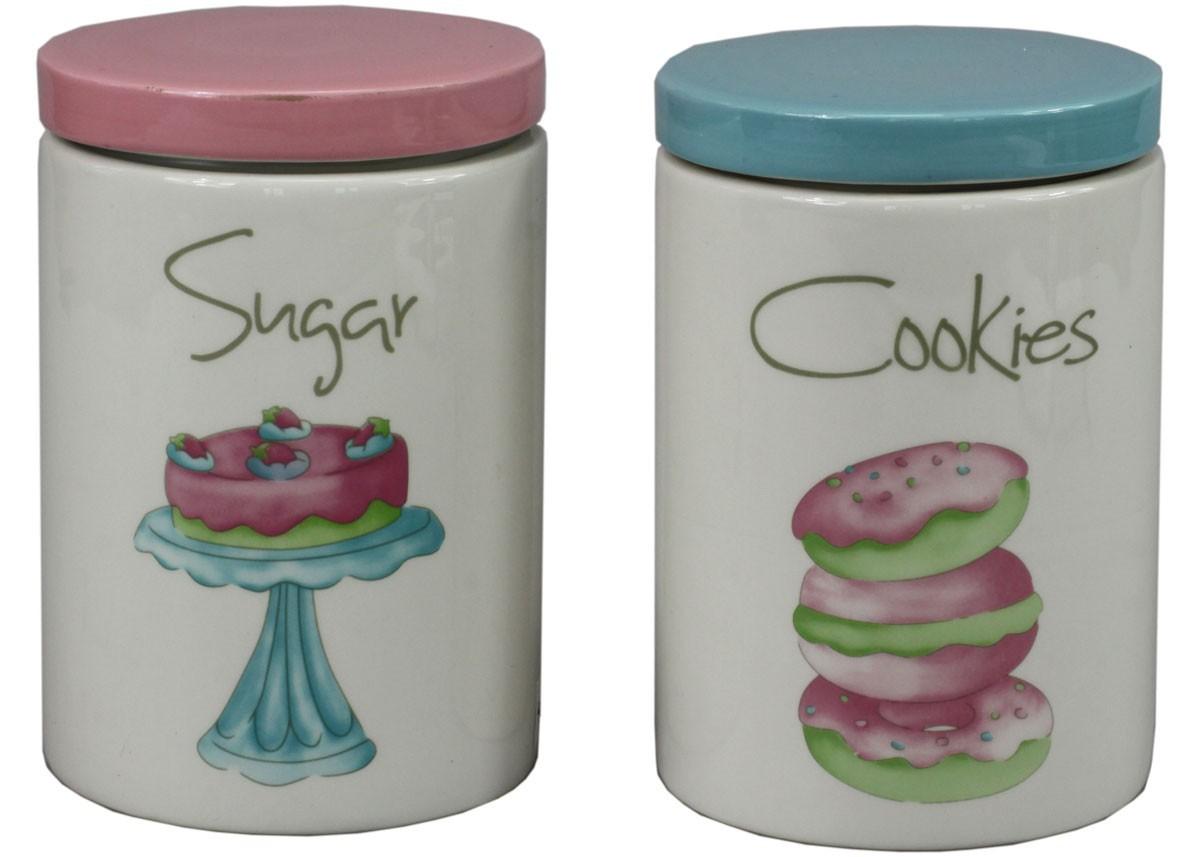 nostalgie vorratsdose cookies shabby landhaus keramikdose mit deckel in blau. Black Bedroom Furniture Sets. Home Design Ideas