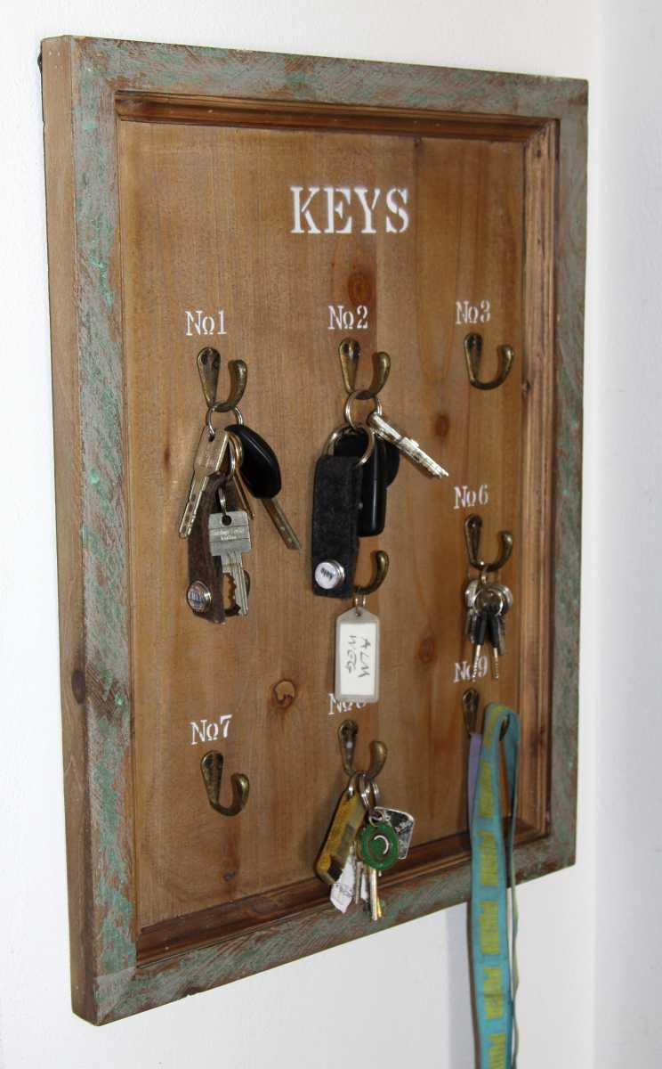 schl sselbrett keys 9 haken shabby landhaus holz. Black Bedroom Furniture Sets. Home Design Ideas