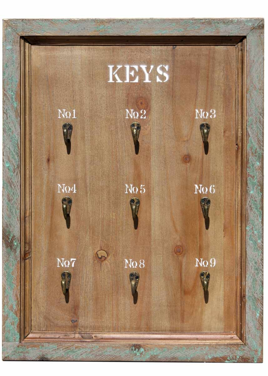 schl sselbrett keys 9 haken shabby landhaus holz schl sselboard antik braun. Black Bedroom Furniture Sets. Home Design Ideas
