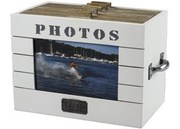 """Fotobox """"Home"""" Aufbewahrungsbox aus Holz für Fotos mit Tragegriffen"""