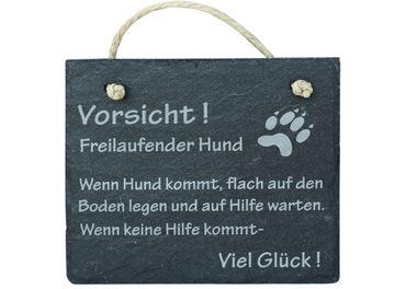 """Schiefer Schild """"Vorsicht freilaufender Hund"""" Schiefertafel Wandbild Türschild"""