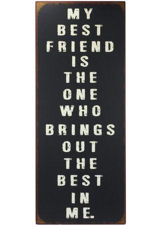 Blechschild Best Friend Shabby Antik Nostalgie schwarz-weiß – Bild 1