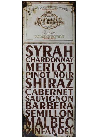 Blechschild Weinsorten Shabby Antik Nostalgie Schild beige H76