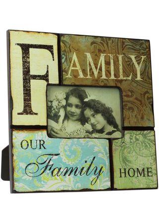 Bilderrahmen our Family Home Shabby Vintage Fotorahmen Holz 27x27