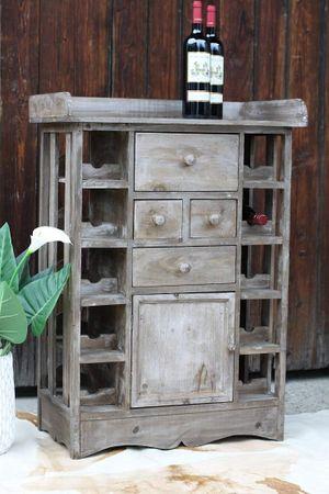 nostalgie weinregal flaschentr ger aus metall mit holz tragegriff antik look. Black Bedroom Furniture Sets. Home Design Ideas