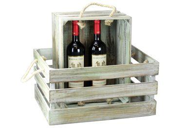 Nostalgie Holzkiste - Antique - Weinkiste aus Holz mit Seil-Griff Kiste
