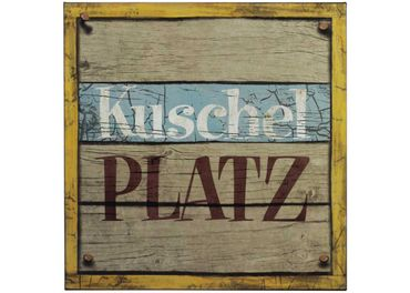 Blechschild - Kuschel Platz - Shabby Chic Wandbild H 30cm Türschild Schild – Bild 1