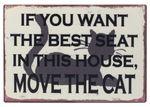 Schild -Move the Cat- Shabby Vintage Blechschild Wandbild Türschild