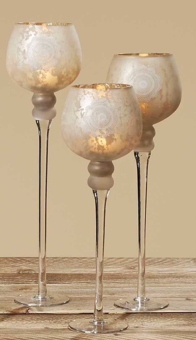 glas windlicht rom teelichthalter edle glasform in matt gold 3er set. Black Bedroom Furniture Sets. Home Design Ideas