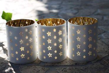 """Teelichthalter """"Christmas""""  Stern Windlicht Teelichtglas 3er Set"""