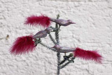 Clip Vogel Glas Christbaumschmuck mit Feder und Glitter lila, 3er Set