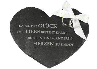 Individuelles Ringkissen Herz aus Schiefer Ehering Kissen mit Wunsch-Gravur – Bild 1