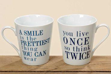 "Kaffeetasse ""Smile/Live once"" Porzellan-Tasse Kaffee-Becher, 2er Set"