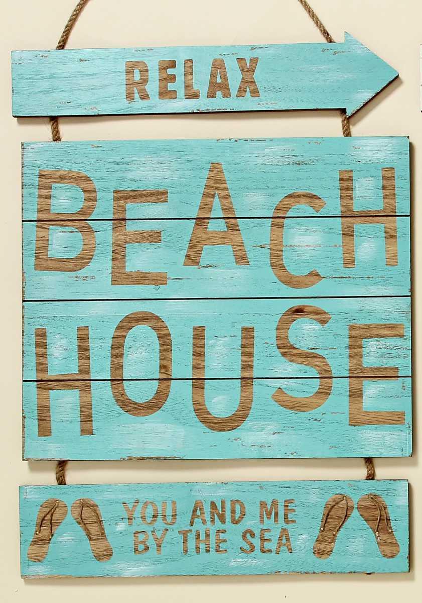 wandbild beach house shabby chic holzschild wandobjekt. Black Bedroom Furniture Sets. Home Design Ideas
