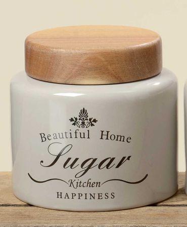 Vorratsdose Sugar aus Steingut Shabby Landhaus Aufbewahrungsdose