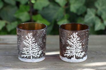 Windlicht Weihnachtszauber Teelichthalter mit Weihnachtsmotiv, 2er Set