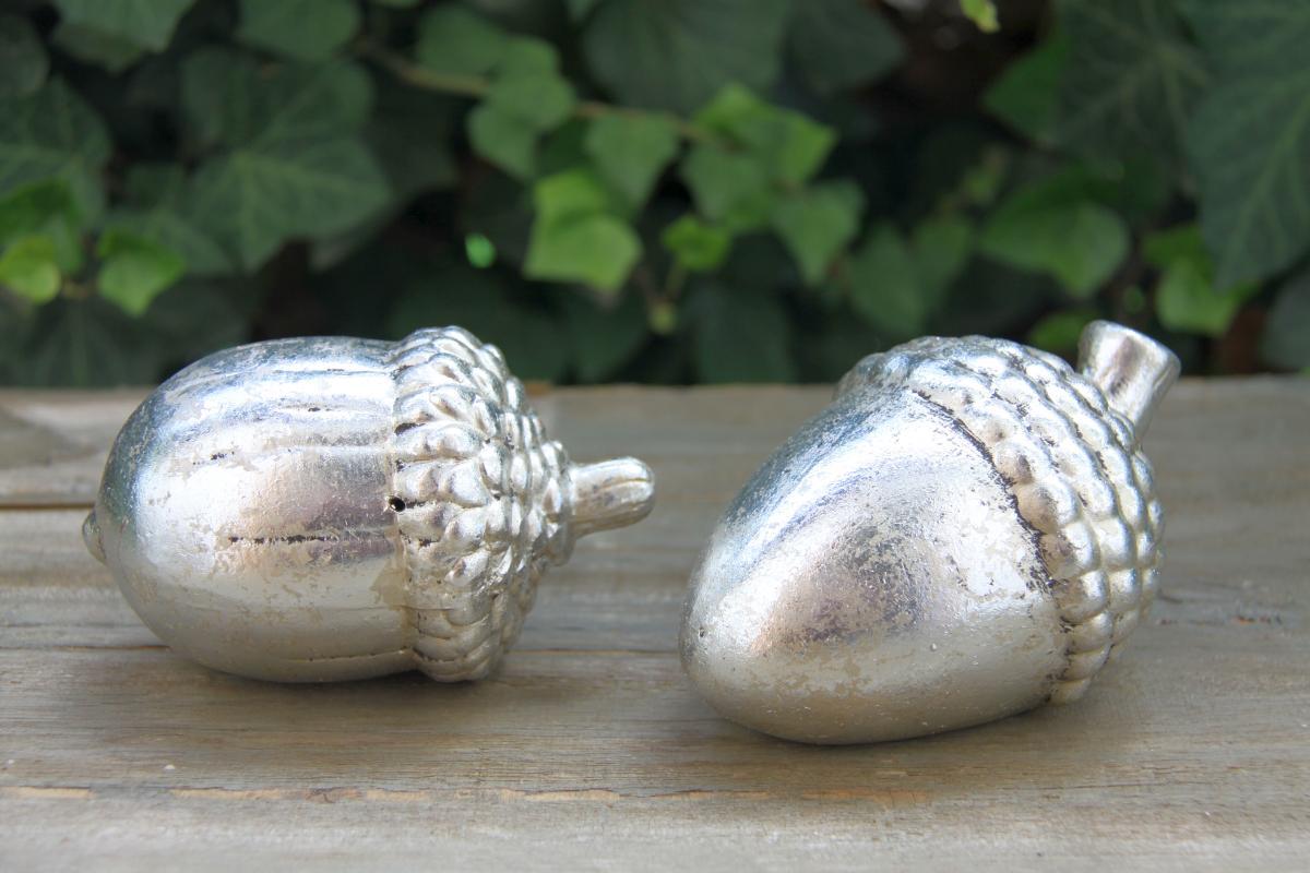 Deko eichel liegend in silber weihnachtsdeko 2er set for Weihnachtsdeko silber