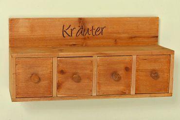 Wandregal - Kräuter - zum Hängen Holzregal mit 4 Schubladen Landhausstil