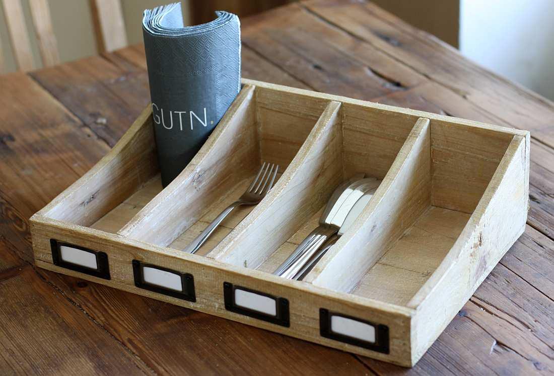 besteckkasten rustica holz aufbewahrung f r besteck landhausstil natur. Black Bedroom Furniture Sets. Home Design Ideas