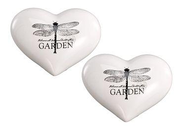 Keramikherz - Garden - Libellen Motiv Landhaus Deko-Stein, 2er Set