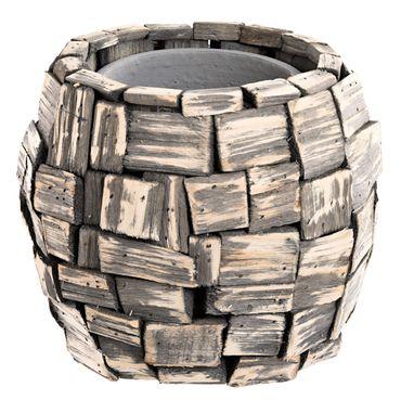 Rustikaler Pflanztopf mit Holzstücken und Keramiktopf Landhaus Dekotopf