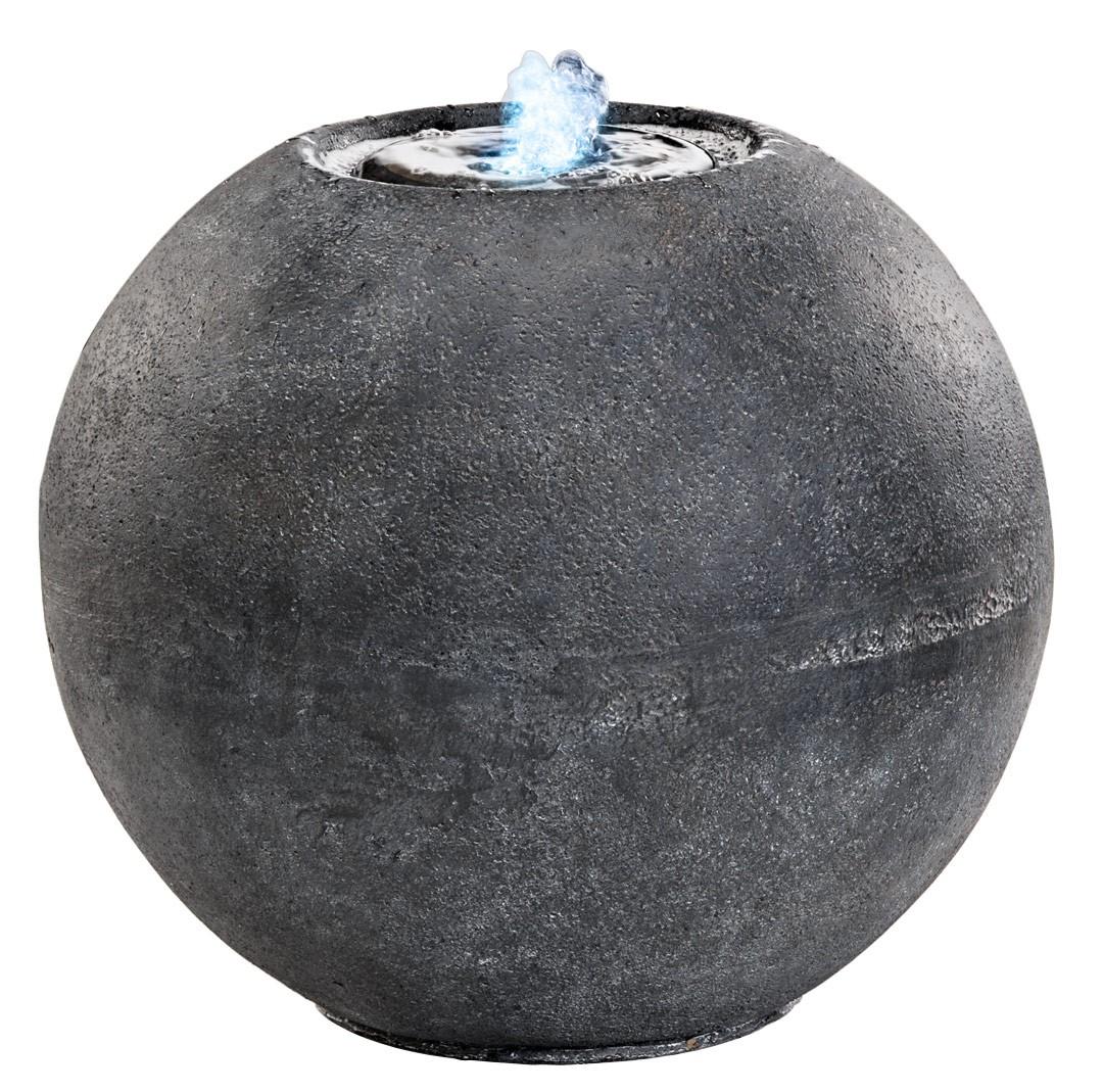 springbrunnen kugel mit led licht fiberglas kugelbrunnen grau h 36cm. Black Bedroom Furniture Sets. Home Design Ideas