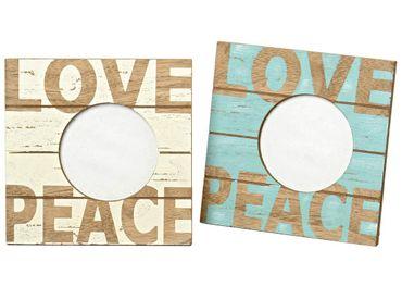 Bilderrahmen - Love-Peace - Shabby Chic Holz Fotorahmen türkis und gelb 2er Set – Bild 1