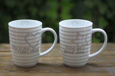 Tasse - Hearts - Kaffeebecher Teetasse Landhausstil, 2er Set