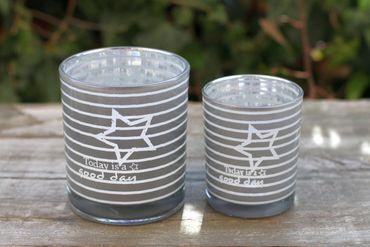 Windlicht - World - Glas Teelichthalter Kerzenhalter, 2er Set