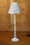 Tischlampe - Grigio Blume - Landhaus Metall Tischleuchte Lampe