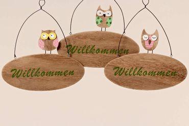 Holzschild - Eule - Willkommen Schild Türschild Wandbild, 3er Set