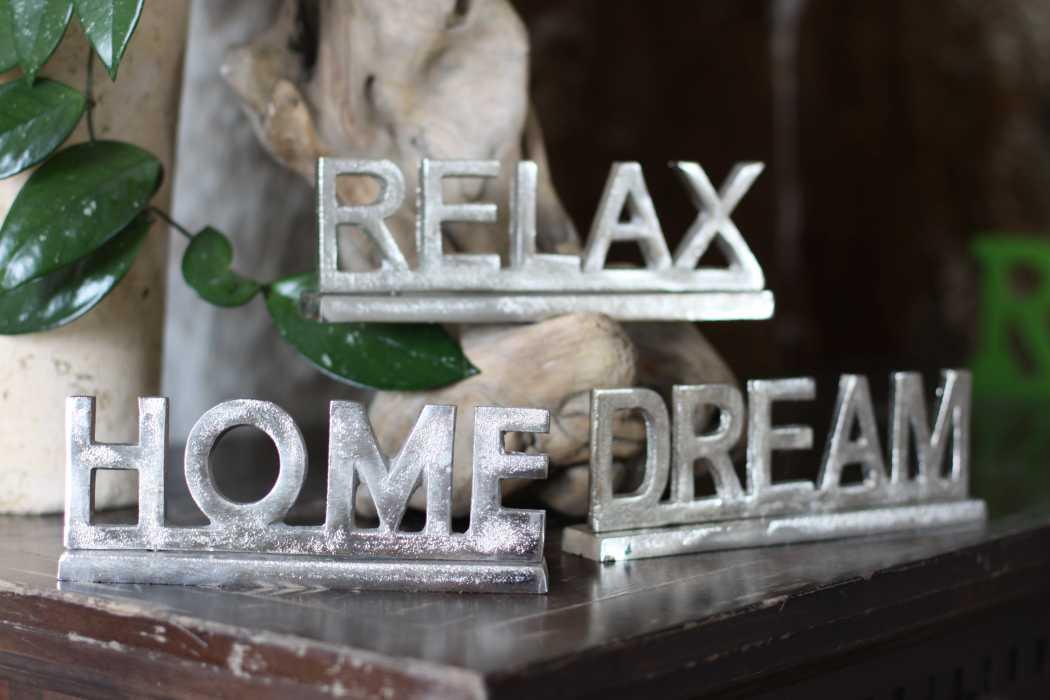 Aufsteller Relax Home Dream Metall Deko Schriftzug Silber 3er