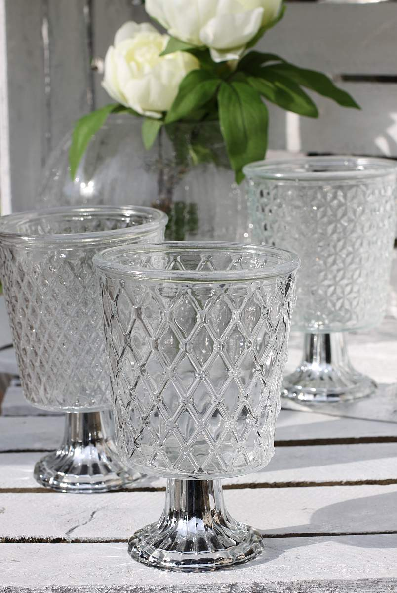 glas windlicht crystal shabby teelichthalter glas kelch antike optik 3er set. Black Bedroom Furniture Sets. Home Design Ideas