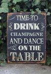Schild - dance on the table - Shabby Chic Blechschild Wandbild Deko