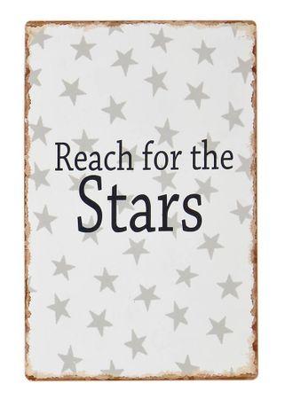 Schild - Reach for the Stars - Shabby Blechschild Wandbild Deko, grau