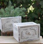 Schublade Uttensilienbox aus Holz Landhaus weiß, 2er Set