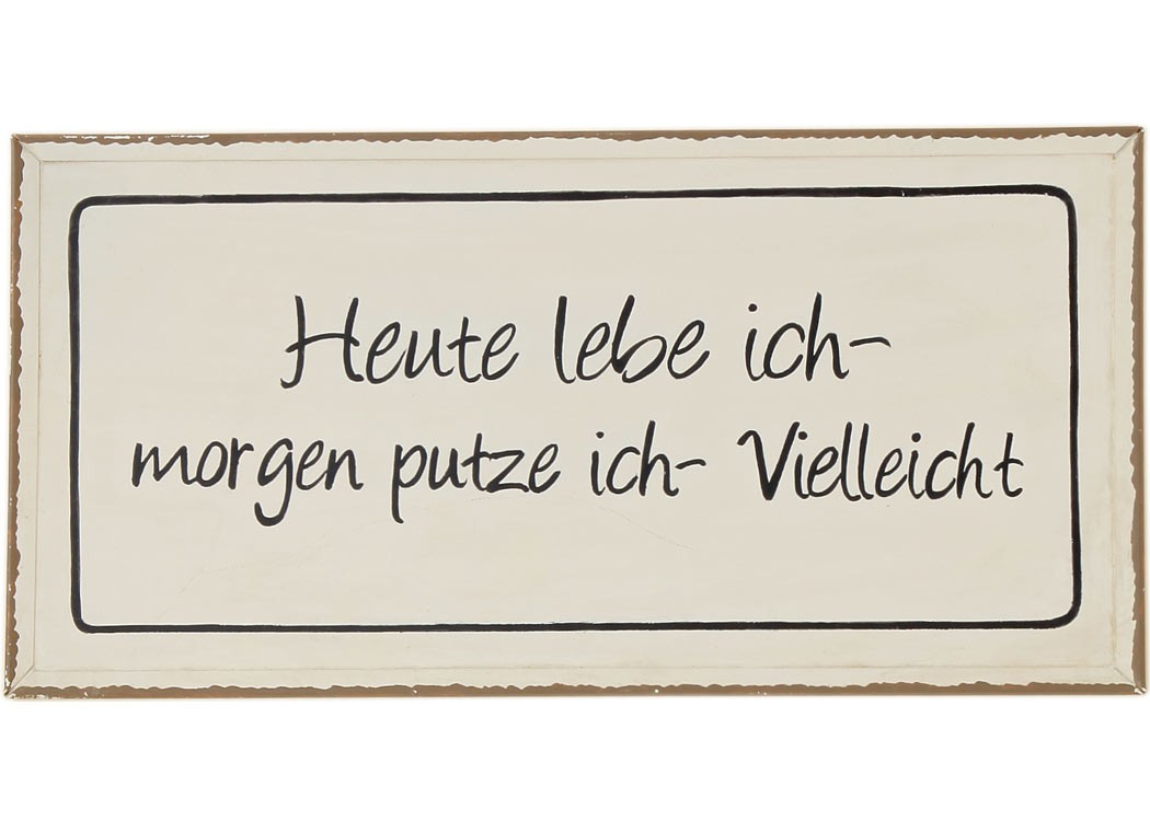 schild heute lebe ich shabby chic blechschild wandbild deko wandobjekt. Black Bedroom Furniture Sets. Home Design Ideas