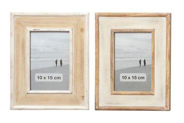 Shabby Chic Holz Bilderrahmen beige/braun Fotorahmen H 23cm, 2er Set